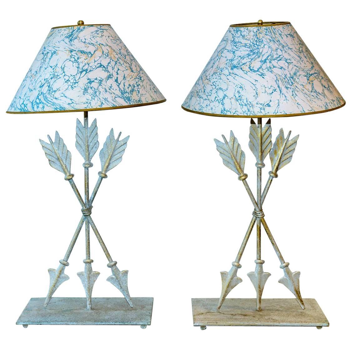 Pair of Italian Mid- Century Painted Tole Arrow Lamps
