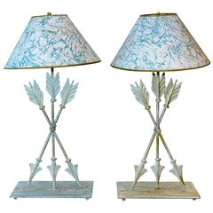 Pair of Italian Painted Tole Arrow Lamps