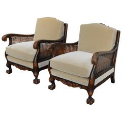 Pair of Swedish Neoclassical Caned Flame Birch Mohair Club Chairs