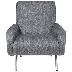 Grey Italian Midcentury Side Chair in Alpaca Wool