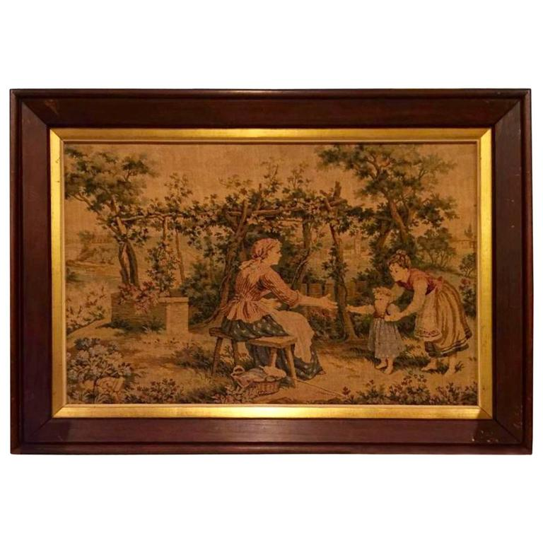 French Antique Framed Tapestry 19th Century