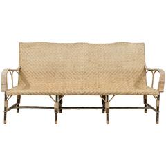 1900 French Wicker and Wood Settee
