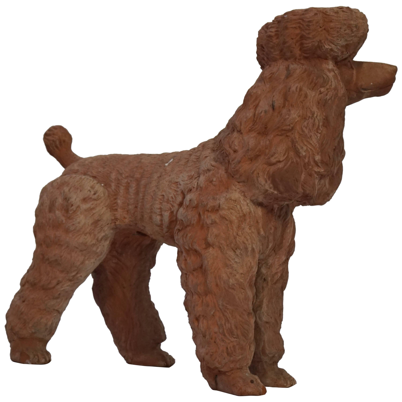 Terra Cotta Poodle Poodle Dog Sculpture