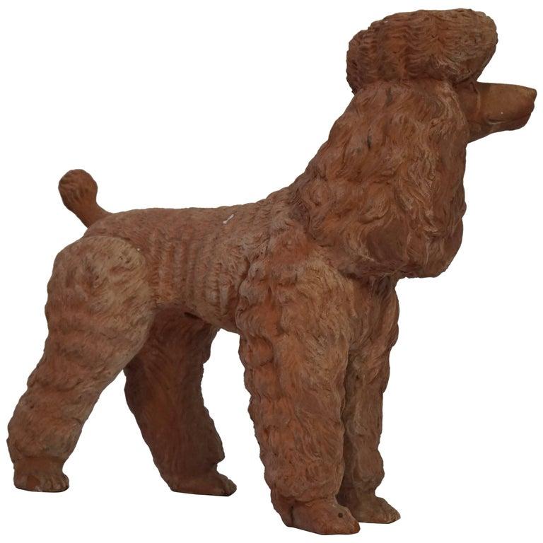 Terra Cotta Poodle Poodle Dog Sculpture For Sale