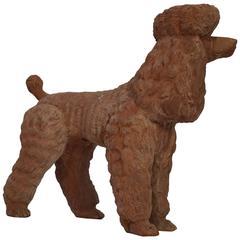 Charming Terra Cotta Poodle Dog Sculpture