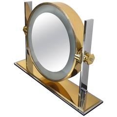Karl Springer Chrome and Brass Vanity Mirror