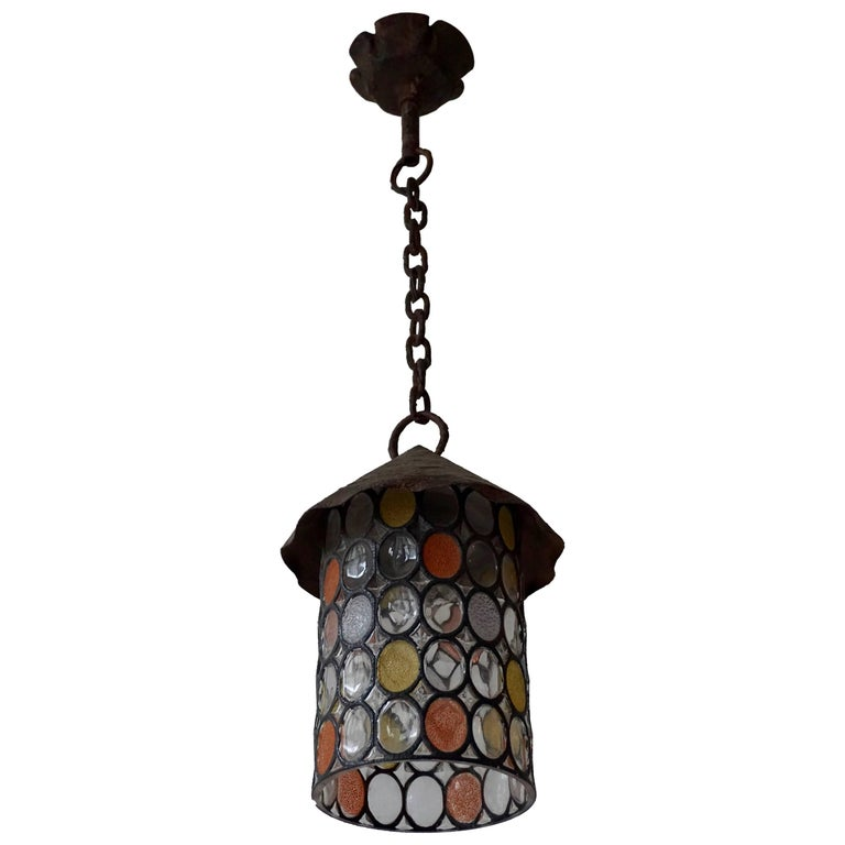 Italian Stained Glass Chandelier, Lantern For Sale