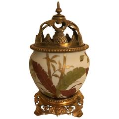 19th Century Painted Porcelain Urn with Pierced Lid