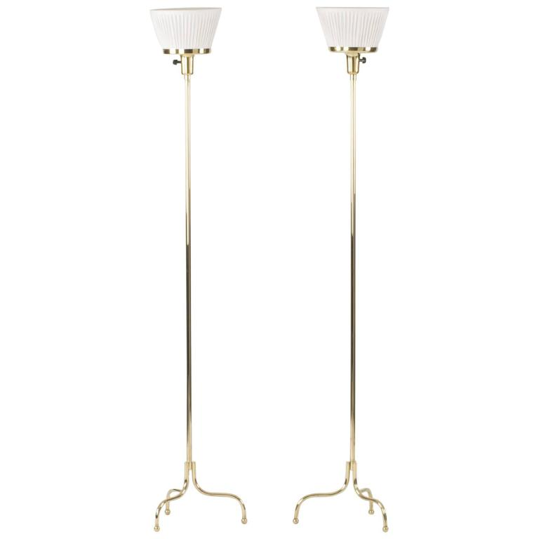 Pair of Brass Floor Lamps by Josef Frank 1