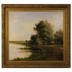 19th Century Flemish Signed Landscape Painting Oil On Canvas