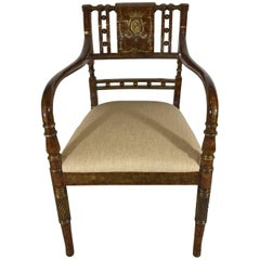 Tortoiseshell Gilt Lacquer Armorial Armchair, in the Regency Style