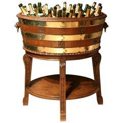 Large Brass Branded Oak Wine Cooler or Planter England, circa 1860