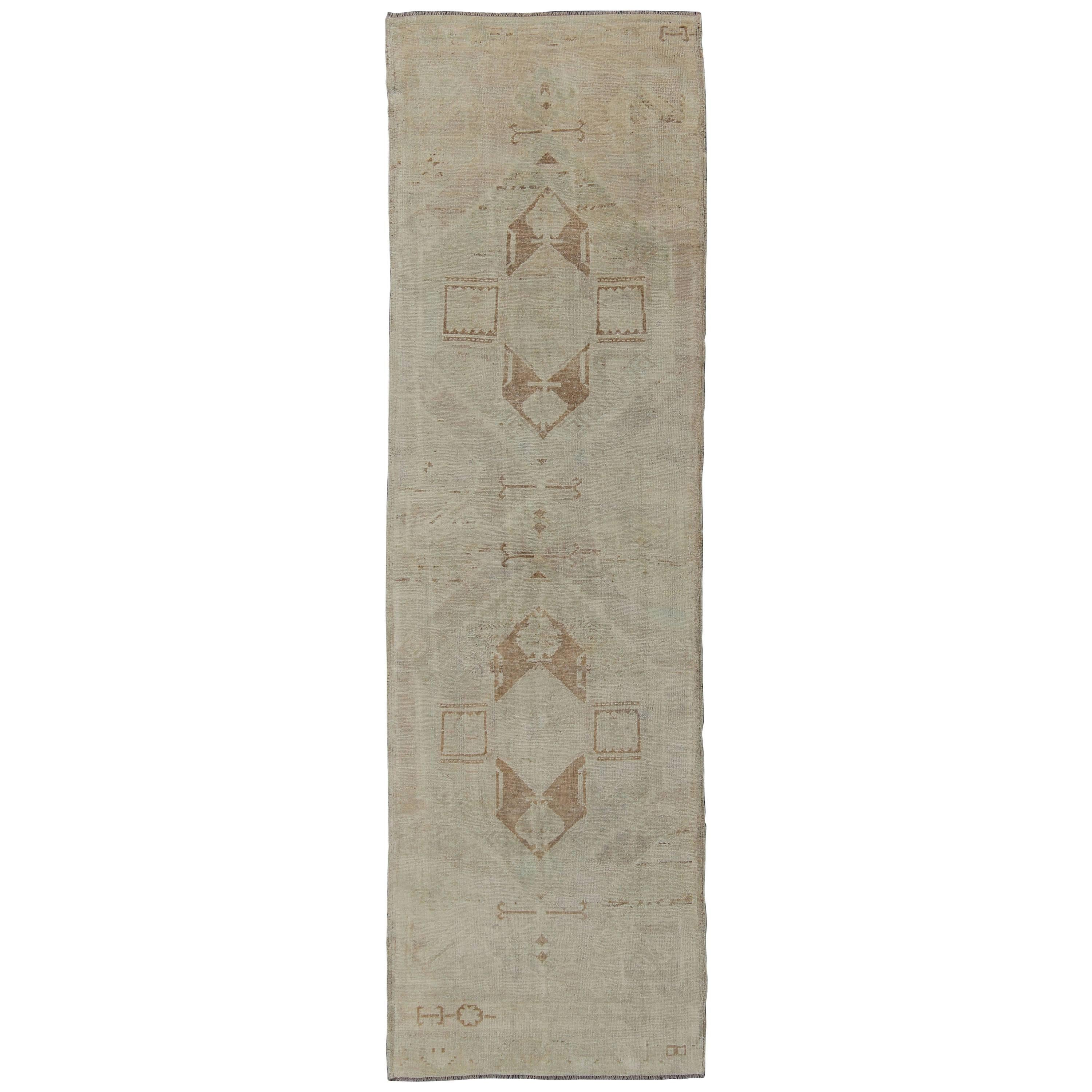Vintage Oushak Turkish Runner with Ivory, Taupe and Light Blue Tones