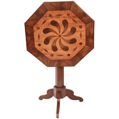 Mahogany Tilt-Top Table with Inlaid Decoration, French 19th Century