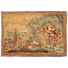 19th Century Antique French Verdure Tapestry with a Countryside Scene