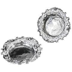 Pair of Barnard Brothers Pierced Silver Wine Coasters
