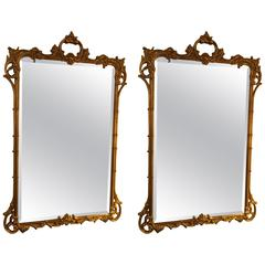 Pair of Giltwood Chippendale Style Mirrors by Friedman Bros