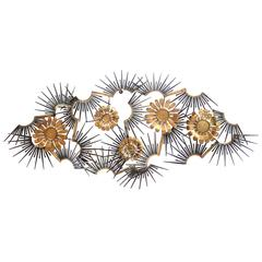 Marc Weinstein   Steel and Brass Wall Sculpture with Flower , 1970 , USA