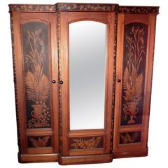 Victorian Painted Pine Arts & Crafts Wardrobe Decorated with Ferns and Leaves
