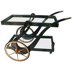 Mid-Century Modern Goatskin Bar Cart by Aldo Tura
