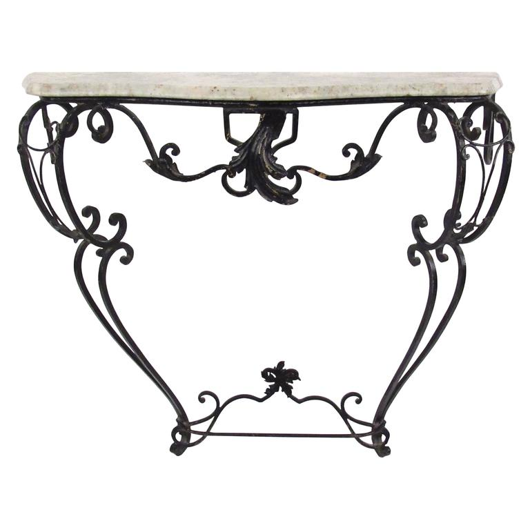 Vintage cast iron and marble demilune hall table at 1stdibs