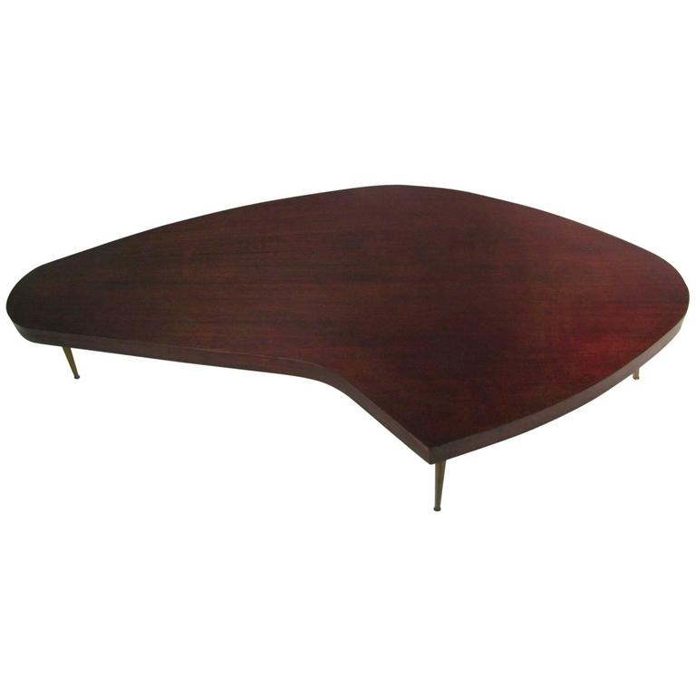 Mid-Century Modern Mahogany Kidney Shaped Cocktail Table