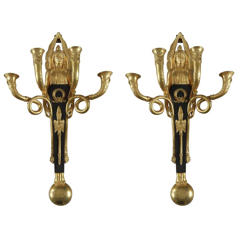 Early 19th Century Empire Bronze Sconces