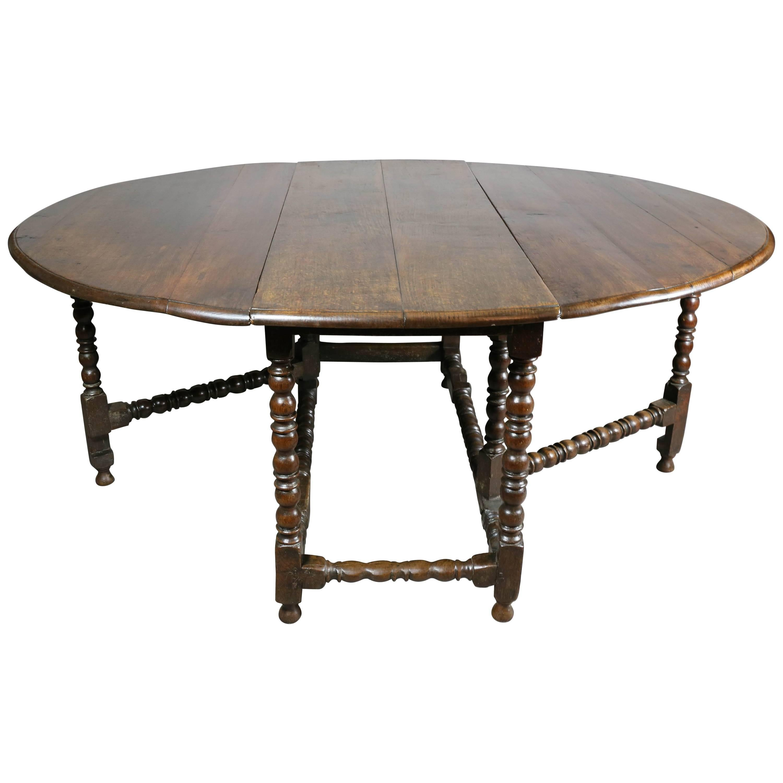 Large Jacobean Oak Gateleg Table