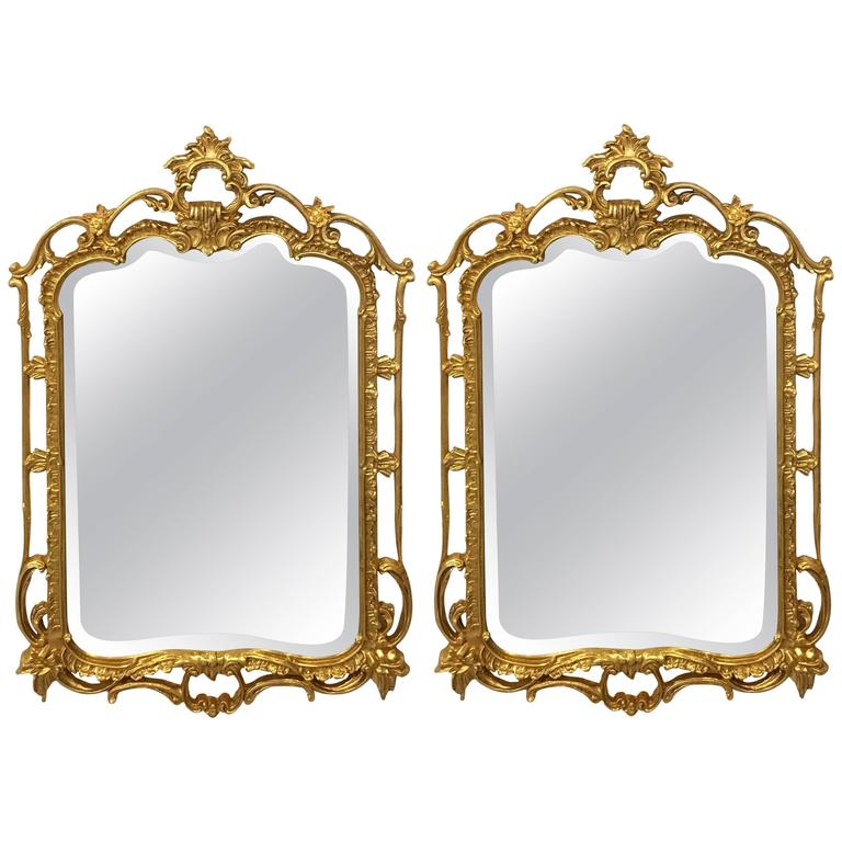 Pair of Giltwood Chippendale Styled Mirrors by Friedman Bros