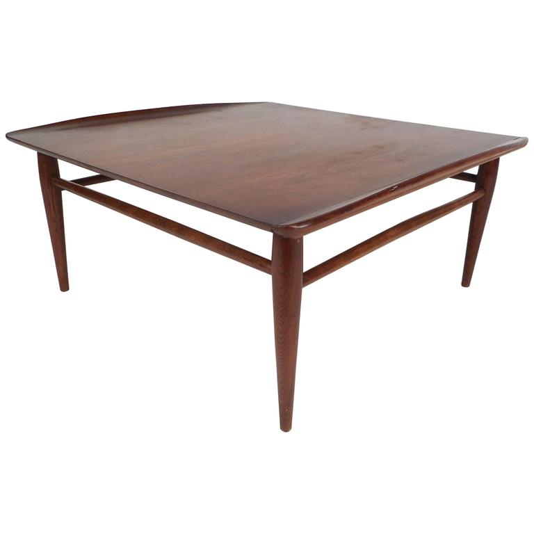 Mid century modern square walnut coffee table by bassett for Modern coffee table for sale