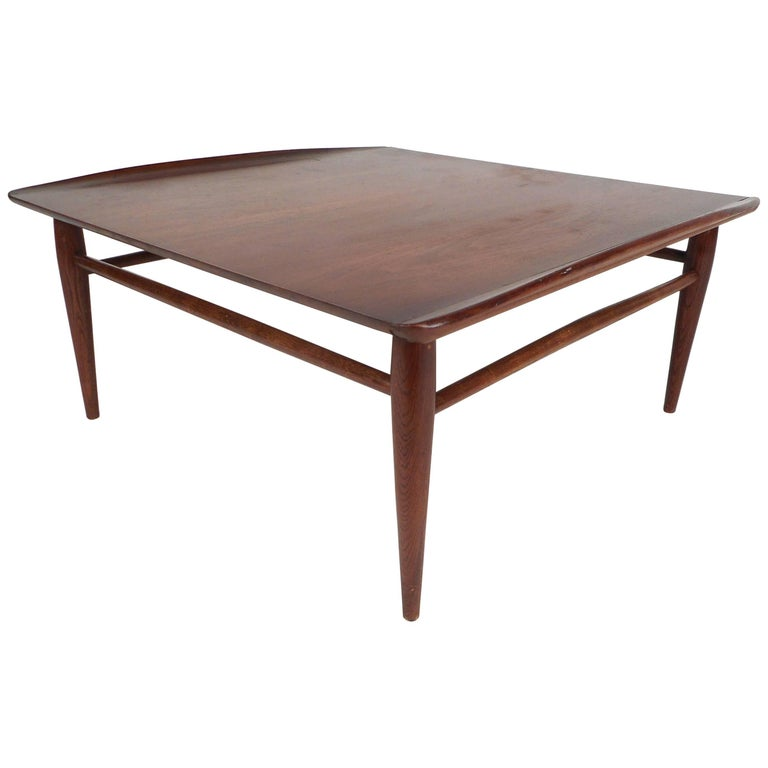 Mid-Century Modern Square Walnut Coffee Table by Bassett For Sale