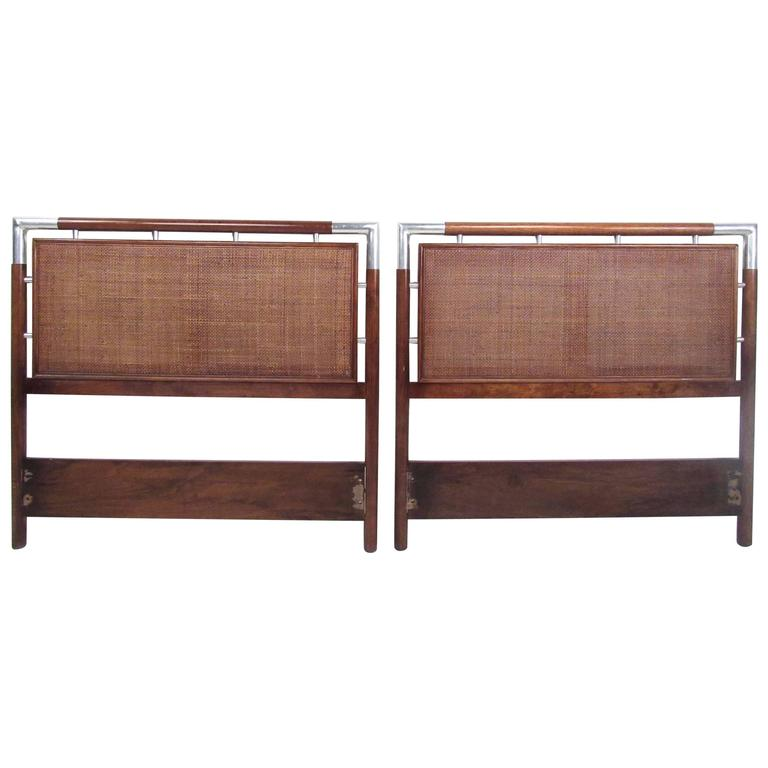 Pair of Mid-Century Modern Cane and Chrome Twin Size Headboards