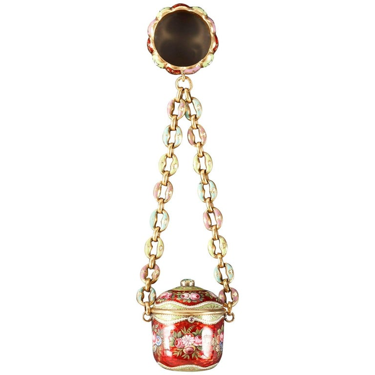 18th Century Gold and Enamel Vinaigrette For Sale