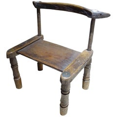 19th Century African Small Wood Chair, Ivory Coast