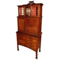 Early 20th Century Glasgow Oak Art Nouveau Inlaid Dental Cabinet