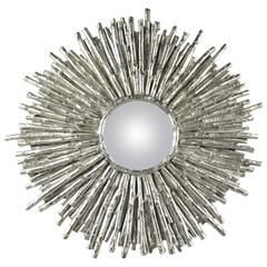 Contemporary Modern Sculptural Sunburst Wall Mirror