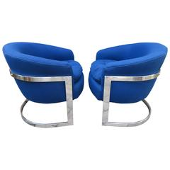 Fabulous Pair of Chrome Barrel Back Chairs, Mid-Century Modern