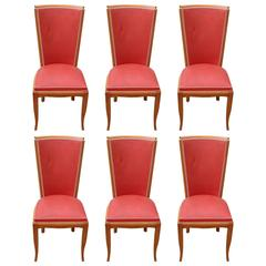 Suite of Six French Art Deco Dining Chairs Mahogany, circa 1940