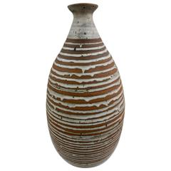Tall Stoneware Vase with Drip Glaze