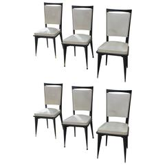 Set of Six French Art Deco/Art Modern Dining Chairs Solid Mahogany, circa 1940