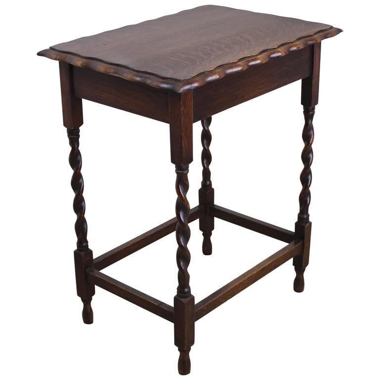 English Oak Barley Twist Side Table For Sale