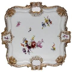 19th Century Meissen Hand-Painted Porcelain Serving Tray