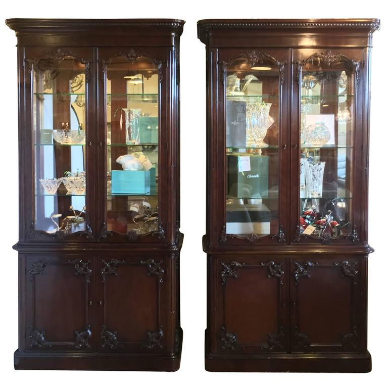 Pair Of Monumental Chinese Chippendale Style Bookcase Vitrine Cabinets For