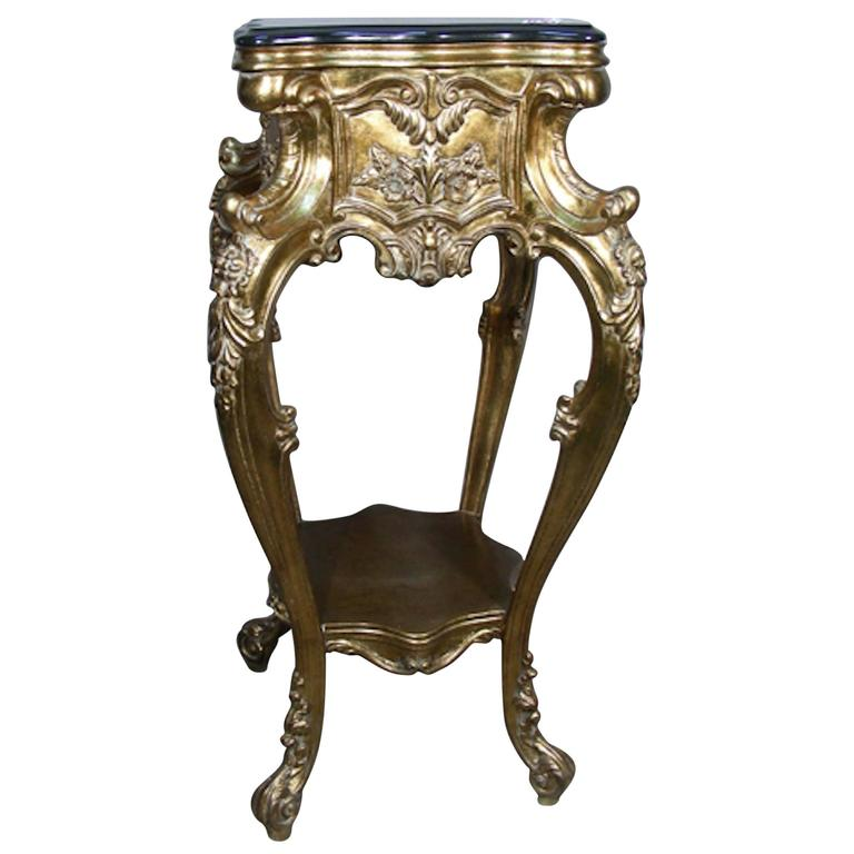 19th Century Carved Gilt Pedestal With Ornate Carving And