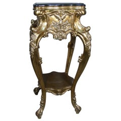 19th Century Carved Gilt Pedestal with Ornate Carving and Black Marble-Top