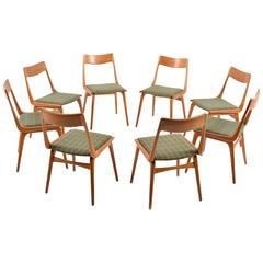 Set of Eight Boomerang Teak Chairs by Alfred Christensen