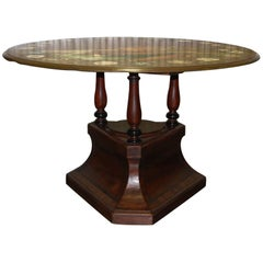 Early 19th Century Mahogany Pedestal Base Table with Original Painted Slate Top