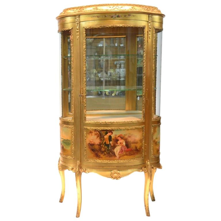 Large Vernis Martin Curved Glass Gilt Curio Cabinet For Sale