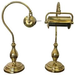 Pair of Brass Goose Neck Library Lamps