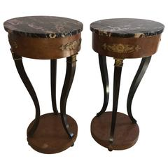 Pair of Empire Style Marble-Top Pedestals